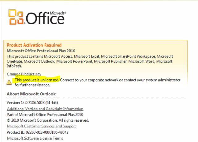 Cách sửa lỗi Unlicensed Product Microsoft Office 2010, 2013, 2016