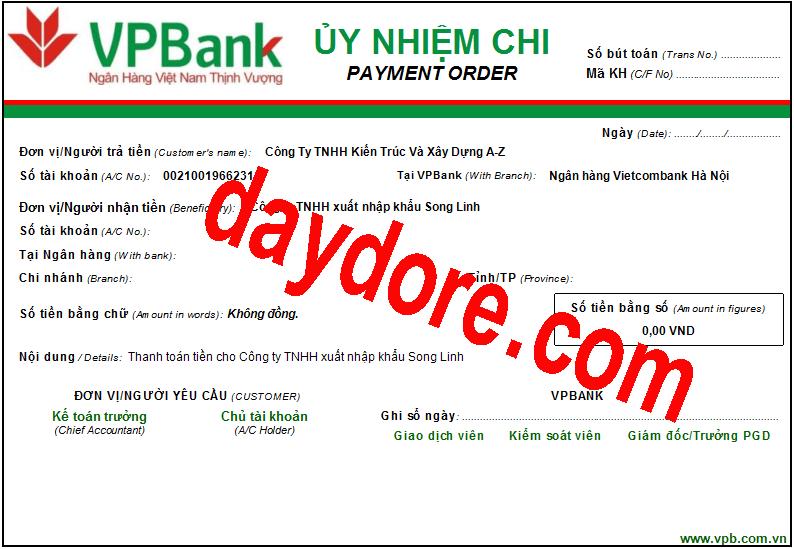 Mẫu ủy nhiệm chi ngân hàng VPBank