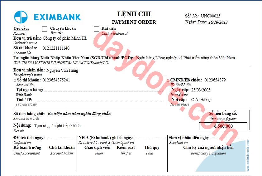 Mẫu ủy nhiệm chi Eximbank
