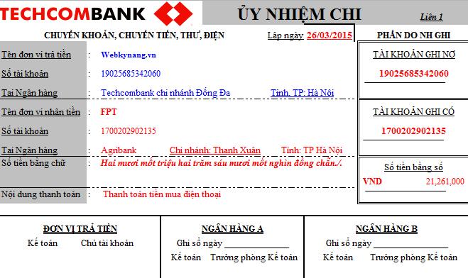Mẫu ủy nhiệm chi ngân hàng Techcombank