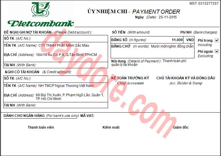Mẫu ủy nhiệm chi ngân hàng Vietcombank