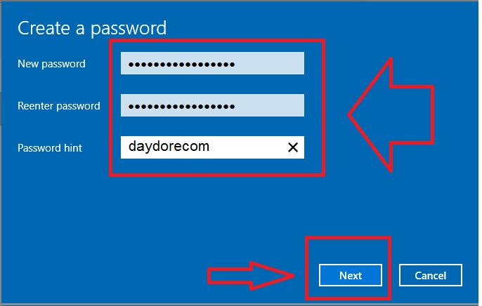 Cài đặt password windows 10
