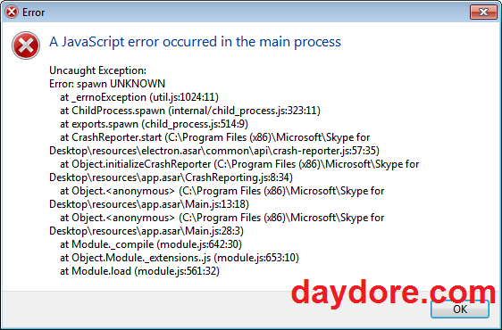 a javascript error occurred in the main process - Cách sửa lỗi a javascript error occurred in the main process Skype & Zalo