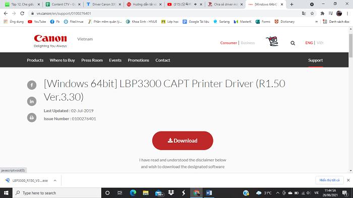 Cấu hình máy tính để tải Driver Canon 3300