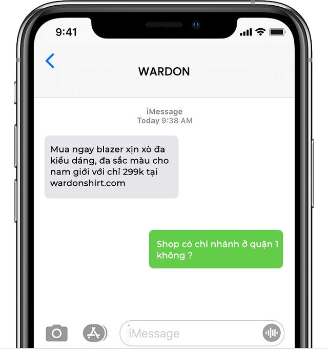 Ví dụ của tin nhắn SMS