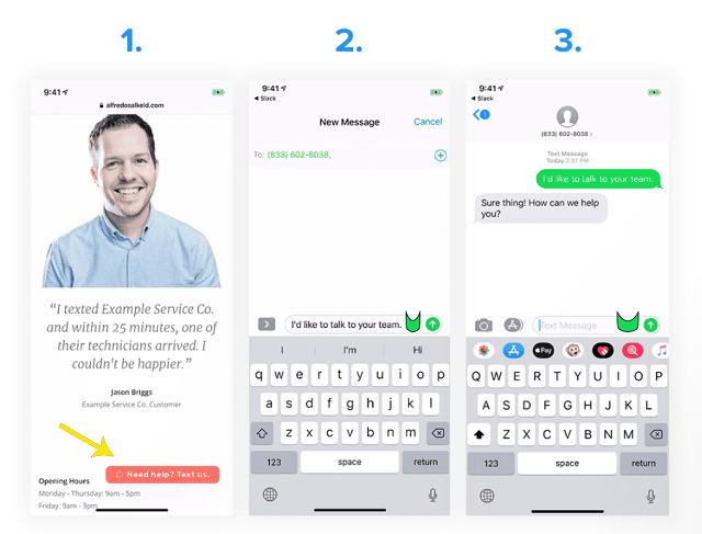 Thêm Call-To-Action để người dùng bắt đầu cuộc trò chuyện SMS cùng bạn
